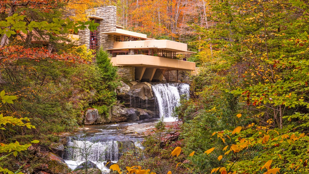 The beautiful fallingwater house by Frank Lloyd Wright in the fall